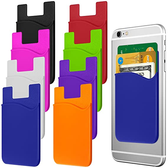 sports shoes f9336 f9dd2 Cellphone Card Holder Back Wallet, JINYEXUAN 8 pcs Colorful Silicone  Adhesive Stick-on Credit Card ID Card Keeper with 2 Hang Ropes
