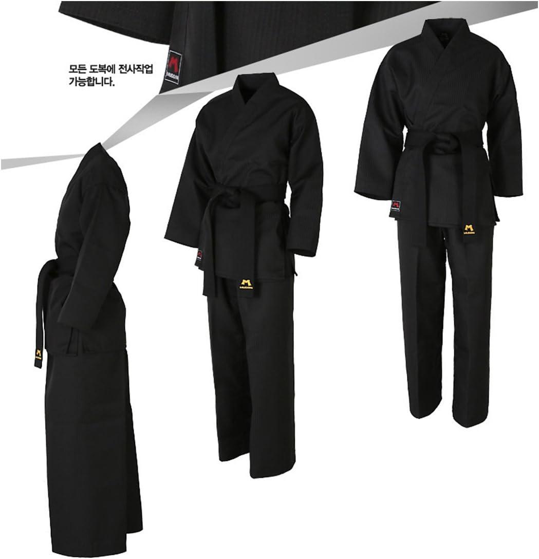 Mudoin Taekwondo Black Color Open Uniform Adults TKD Martial Arts Akido Hapkido WTF