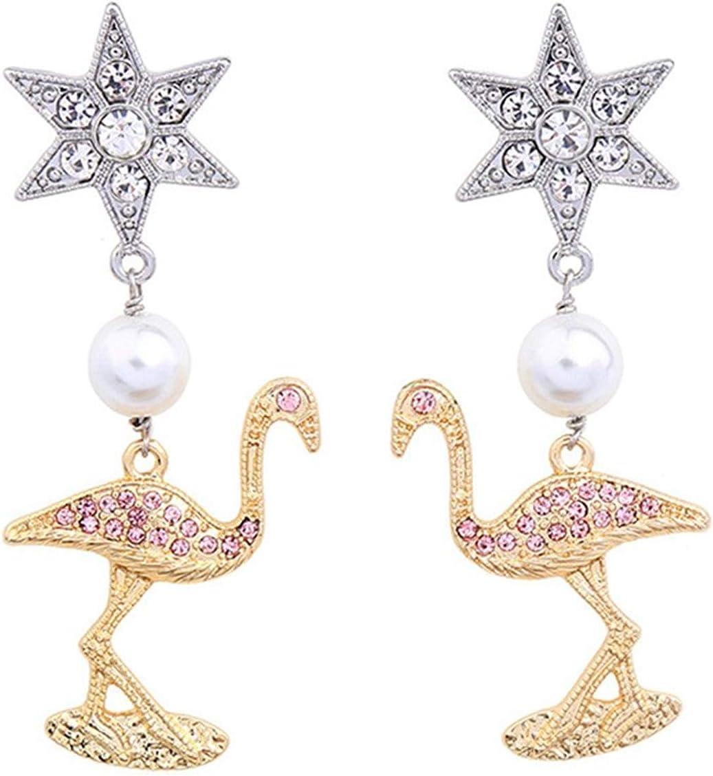 Thumby Decoración Antigua de la joyería de Moda, Pendientes de la Muchacha del pájaro de la Perla del Diamante del Mosaico