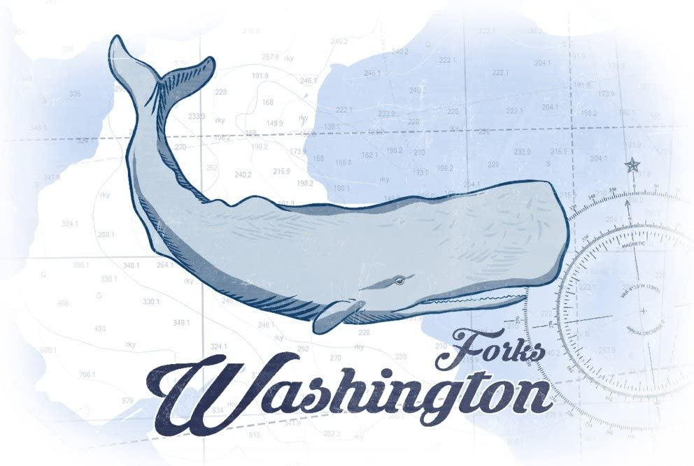 Forks Washington Whale 36x54 Giclee Gallery Print, Wall Decor Travel Poster Blue Coastal Icon