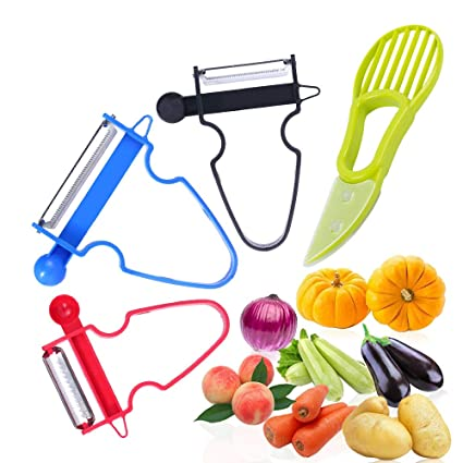 GESCHOK Magic Trio Peeler Set, 3 Piezas Peeler Set Kitchen Tools Multifunción Shredder, Slicer
