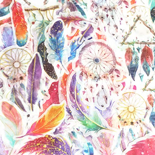 120Pcs Stickers Set Scrapbooking Stickers for Bullet Journal Planner DIY Crafts Scrapbooking Embelishment Diary 20 Designs Each 6pcs (Feather -