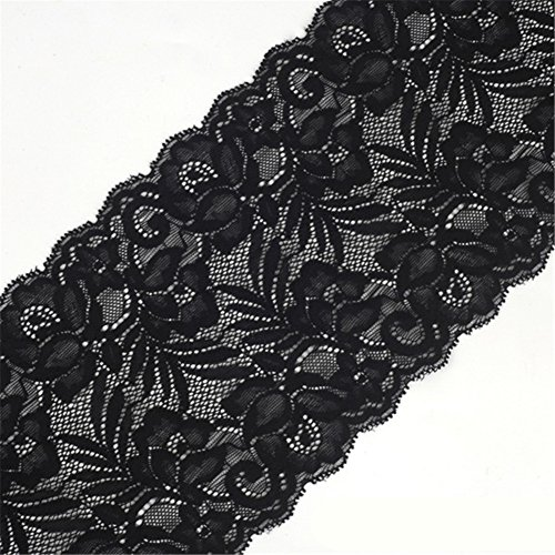 (5 Yards Floral Lace Ribbon Stretch Tulle Lace Trim Elastic Webbing Fabric for DIY Jewelry Making Craft Clothes Accessories Gift Wrapping Wedding Party Decoration (Black))