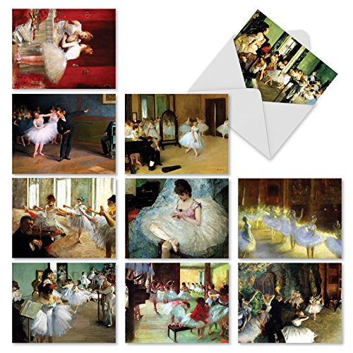 Tutu Assortment - Assortment of Greeting Cards with Envelopes (Box of 10) - 'Notes Tutu You' Thank You Cards Featuring Famous Paintings of Ballet Dancers for Any Occasion M9684TYG