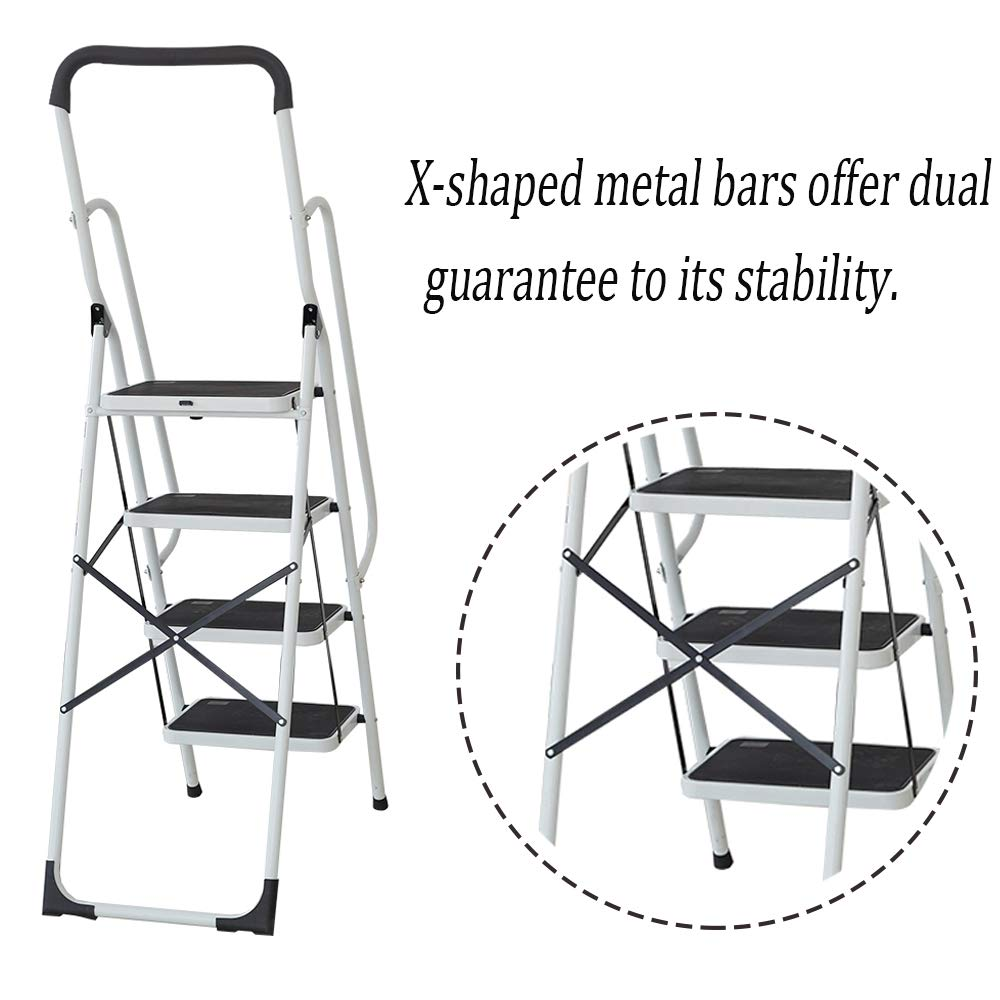 KARMAS PRODUCT Folding 4 Step Ladder with Handrails for Home,Anti-Slip Safty Steel Step Stool 300LB by KARMAS PRODUCT (Image #6)