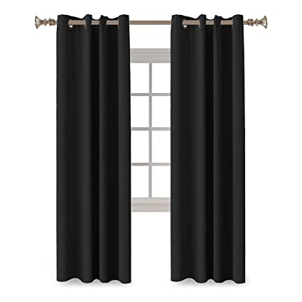 Gentil Turquoize Full Blackout Curtains Of 2 Panels Jet Black Window Draperies  Themal Insulated Grommet/Eyelet