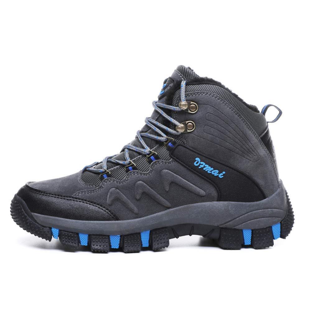 DZX Winter Rutschfeste Schneeschuhe/Wandern Trekking Walking Outdoor Schuhe, Wasserdichte Klettern Sportschuhe Turnschuhe, Voll Pelz Gefüttert Stiefel,Grau-45