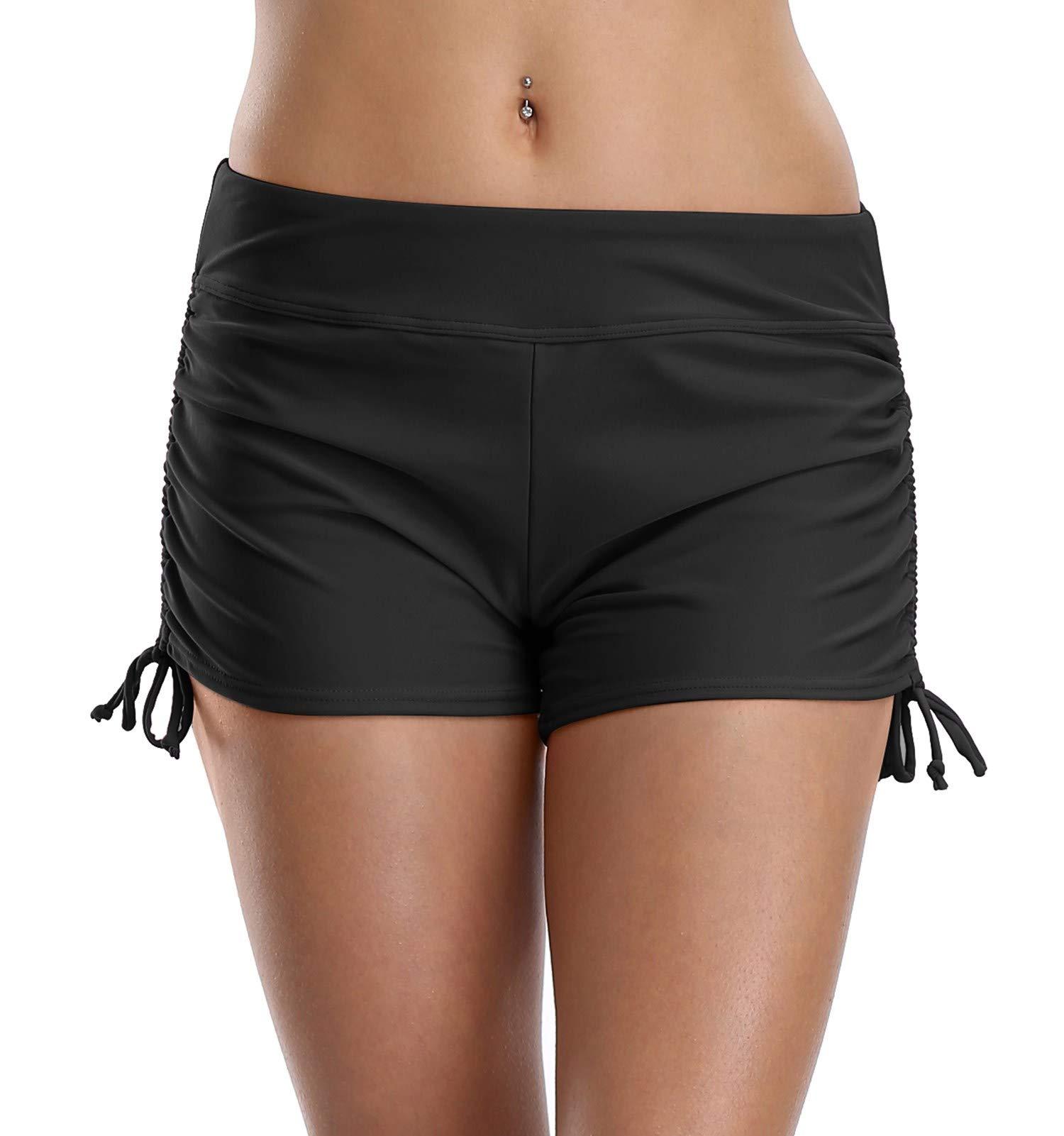 Anwell Women's Swim Board Short Boyleg Tie Side Swimsuit Bottom Black Medium by Anwell