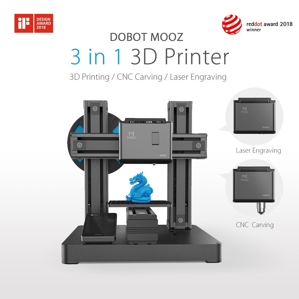 Dobot DB-MZ001 Mooz 3D PRINTER 3 In 1 Industrial Grade Transformable Metallic, Support CNC and Laser Engraving, Free PLA Filament, PROTECTIVE Case and ...