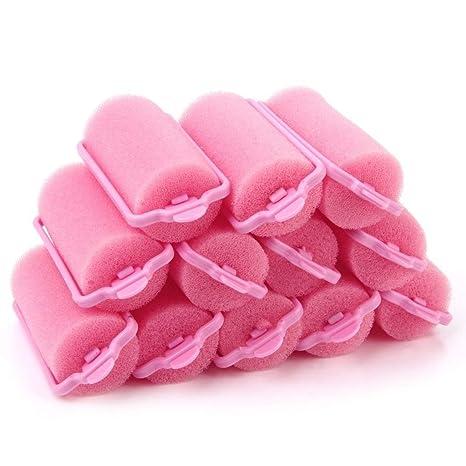 OHlive Rizador de Pelo Popular Suave Esponja rulos de Pelo cojín Color al Azar 12pcs