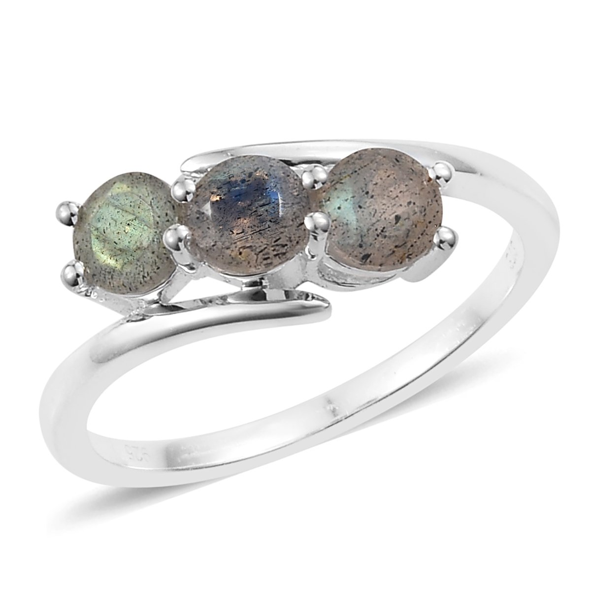925 Sterling Silver 1.1 Cttw Round Labradorite Fashion Ring For Women Size 5