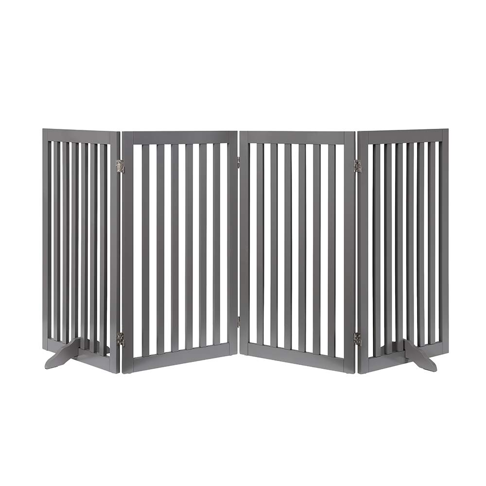 unipaws Freestanding Wooden Dog Gate, Foldable Pet Gate with 2PCS Support Feet Dog Barrier Indoor Pet Gate Panels for Stairs, Gray (20'' Wx36 H, 4 Panels) by unipaws (Image #1)