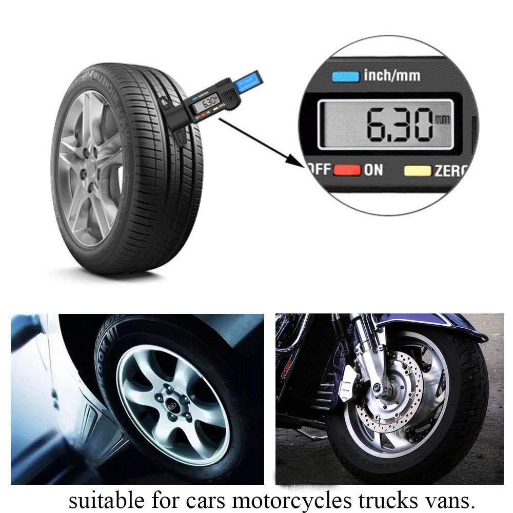 //écran LCD 0 camionnettes camions 25,4/mm au m/ètre Mesureur testeur de Profondeur de Pneu Voitures Moto Posan Tyre Tread Jauge de Profondeur/