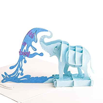Paper Spiritz Blue Elephant Pop Up Birthday Card Wedding Christmas Anniversary