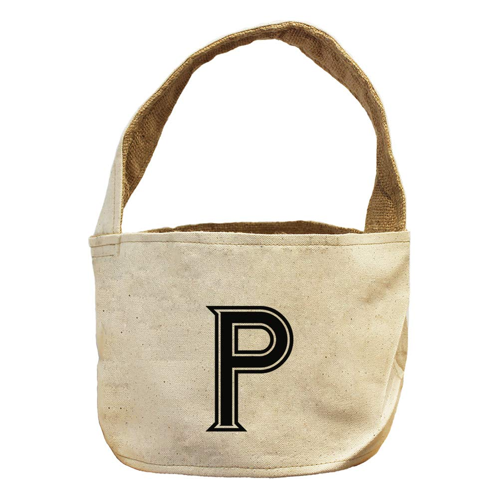 Style in Print P College Font Monogram Letter P Canvas and Burlap Storage Basket