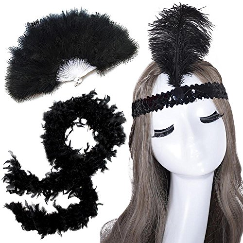 HUALIL Ladies 1920s Flapper Accessories Headband Hand Fan Feather Boa(3 Piece Set)