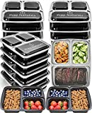 divided plastic container - Meal Prep Containers 3 Compartment - Plastic Food Containers for Meal Prepping - Divided Lunch Containers Food Prep Containers - Reusable Food Storage Containers with lids Bento Lunch Box [15 Pack]