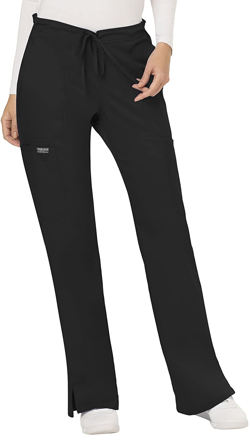 Cherokee Workwear Revolution Women's Mid Rise Moderate Flare Drawstring Scrub Pant: Clothing