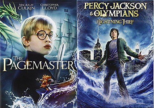 Percy Jackson and the lightning Thief & Pagemaster DVD Set Classic Family Fantasy Movie Bundle Double Feature