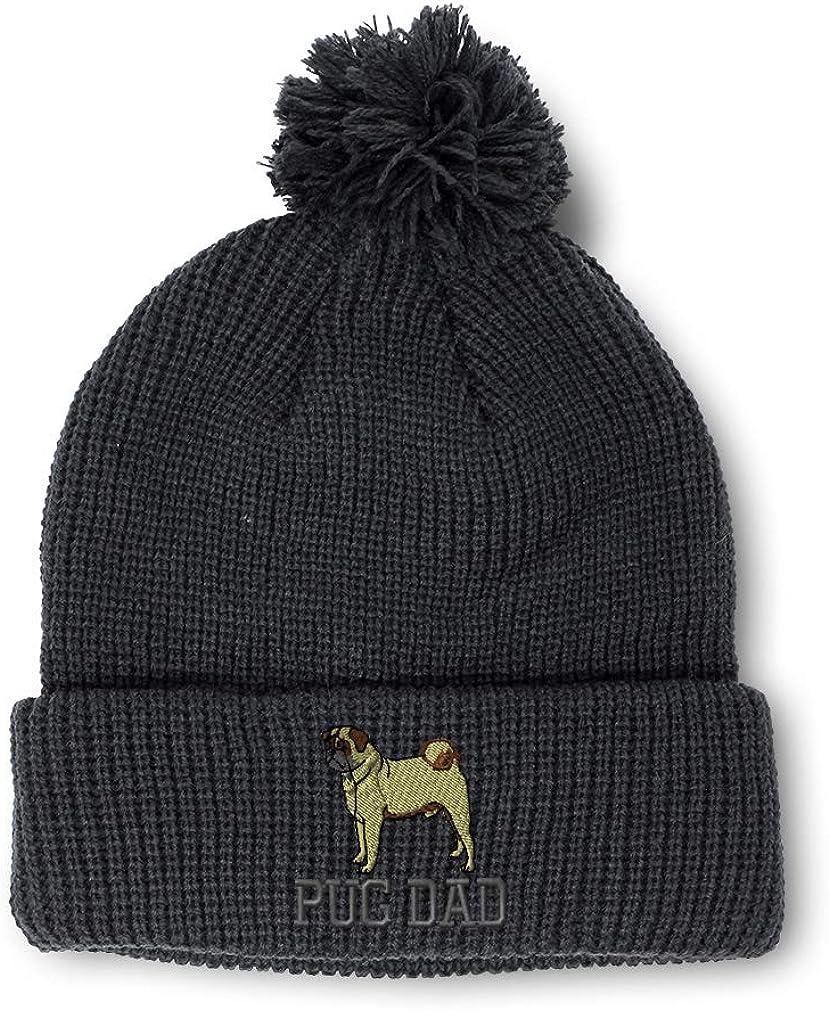 Speedy Pros Winter Pom Pom Beanie Men /& Women Dog Pet Pug Dad Embroidery Skull Cap Hat