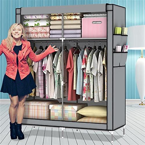 Amanda Home 10140H Portable Clothes Closet Wardrobe Fabric Clothes Storage Organizer (Blue - 69 x 43 x 18in) (Grey)
