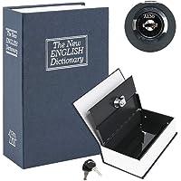 Diversion Book Safe with Combination Lock, Safe Secret Hidden Metal Lock Box,Money Hiding Box,Collection Box Navy Small