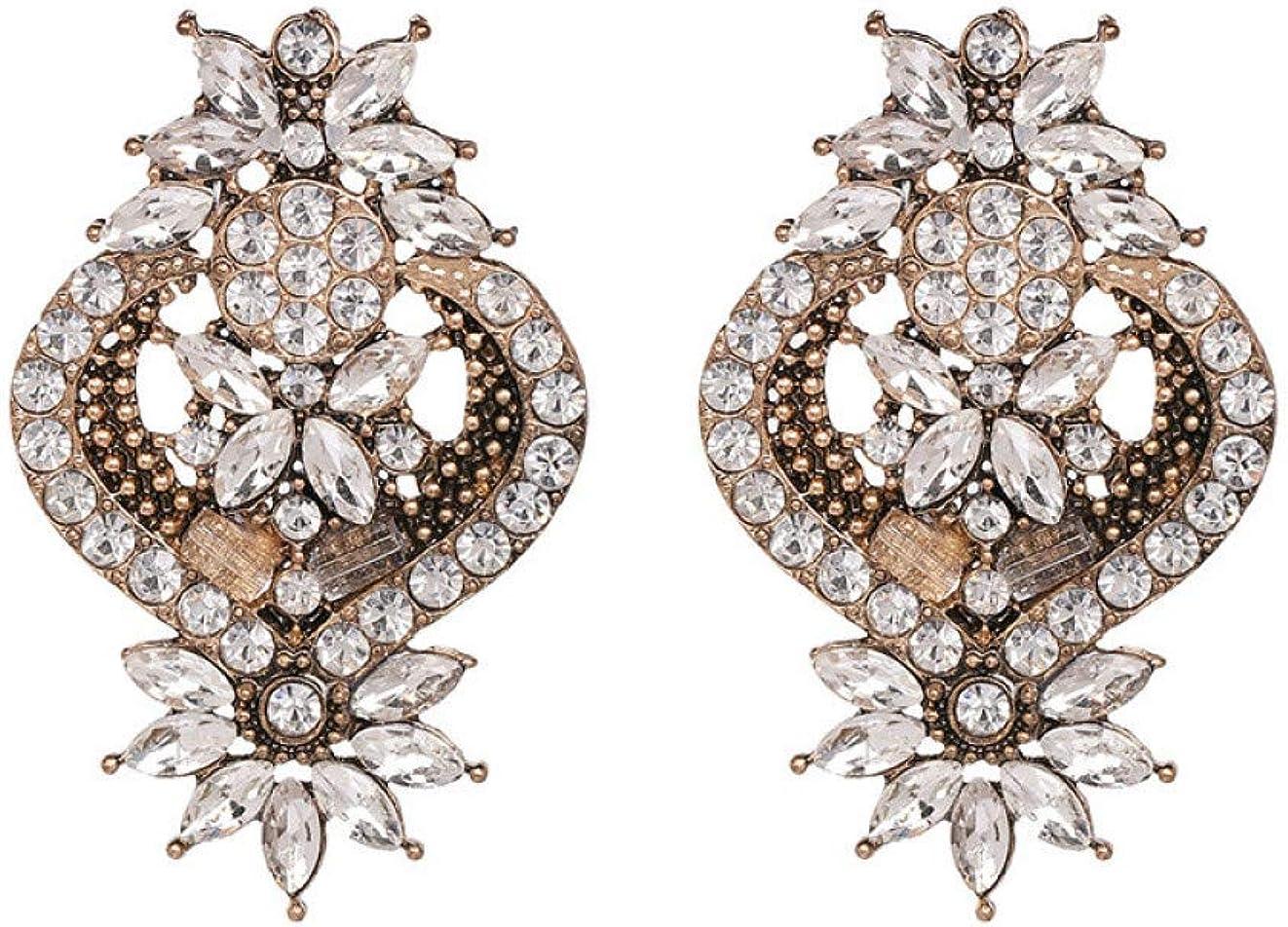ERHUAN Pendientes Pendientes De Botón De Cristal De Piedra De Gema Multicolor Pendiente De Diamantes De Imitación Joyería De Boda De Moda