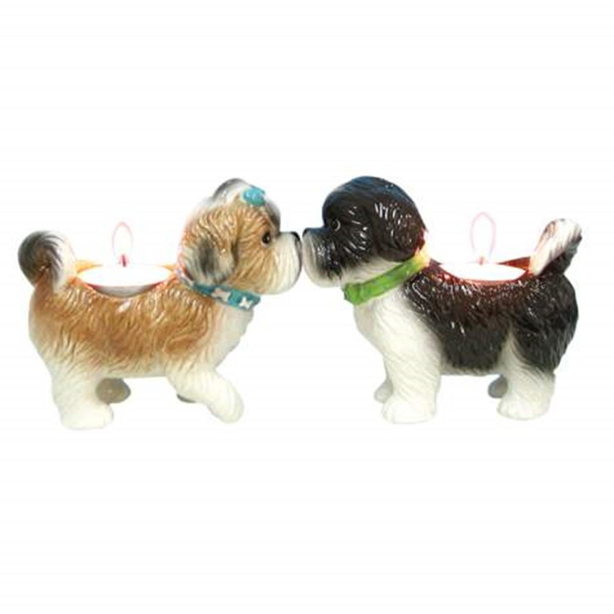 WL SS-WL-93484 Kitchenware Shih Tzus Dogs Brown & Black Tea Light, 3.5''