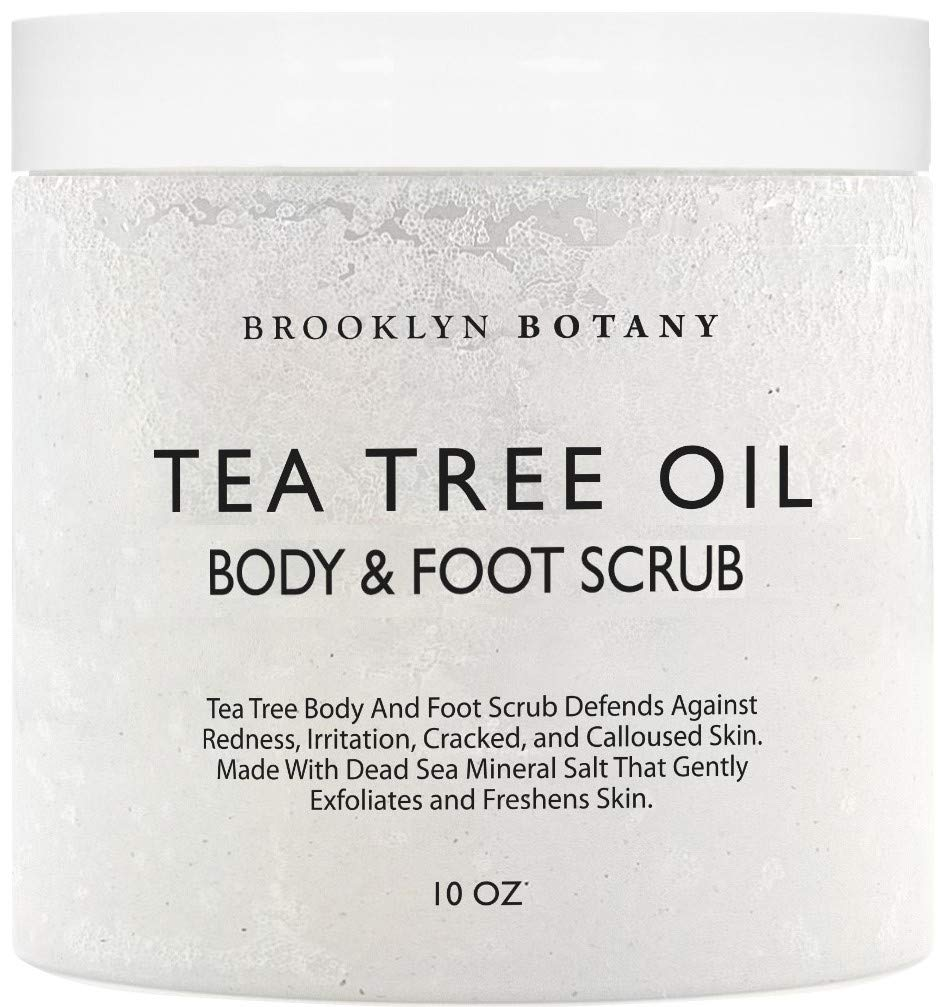 Tea Tree Oil Body and Foot Scrub 10 oz - Exfoliating & Moisturizing Salt Scrub - Best Exfoliating Cleanser for Skin - Natural Help Against Acne and Callus - Brooklyn Botany by Brooklyn Botany