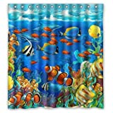 Fish Shower Curtain Fabric KXMDXA Blue Ocean Tropical Fish Coral Undersea World Waterproof Fabric Bathroom Shower Curtain 66 x 72 Inch