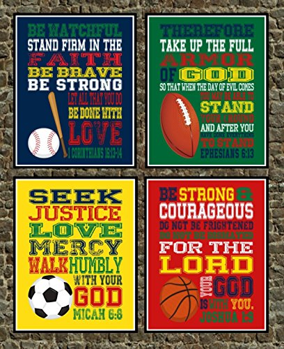 Set of 4 Christian Sports Wall Art Print - Baseball, Football, Soccer, Basketball - Ephesians 6:13, 1 Corinthians 16:13-14, Joshua 1:9, Micah 6:8 - Bible Verse Nursery Playroom or Kids Room Decor