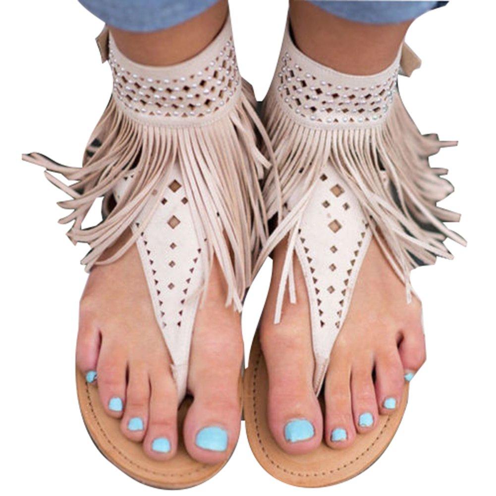 Meedot Sandalen Damen Flach Schuhe Zehentrenner Sandalen Frauen Abendschuhe Sandaletten Flip Flop Sommerschuhe Strandschuhe 35-44  44 EU|Beige