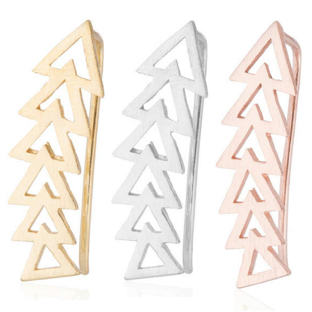 Arrow Geometric Shape Ear Climber Triangle Crawler Earrings (3 Pack: Rose Gold, Gold & Silver)