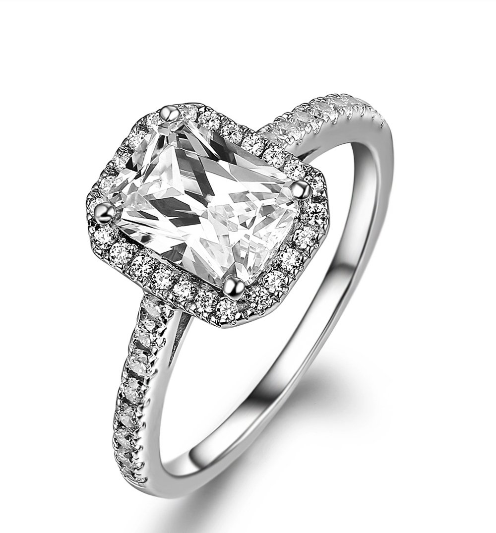 Lourve 14k White Gold Plated 925 Sterling Silver Engagement Ring Emerald Step-Cut CZ Simulated Diamond Emerald Soleste (5, cubic-zirconia)