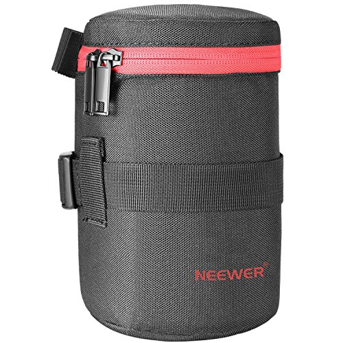 Neewer NW-L2040-R Portable Thick Padded Protective Water Resistant Durable Nylon Lens Pouch Bag for 18-300MM Lens, Such as Canon 100MM 70-300lS 75-300 and Nikon 55-300 28-300 105VR (Gloss Eyelet)