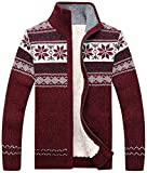 Product review for HENGAO Men's Winter Fleeced Christmas Snowflakes Zipper Cardigan Sweater