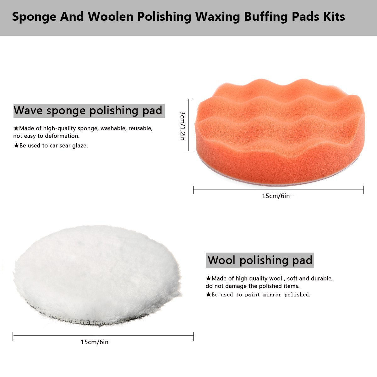 MATCC 7Pcs 6inch Polishing pads,Sponge and Woolen Polishing Waxing Buffing Pads Kits with M14 Drill Adapter, 6inchs by MATCC (Image #2)