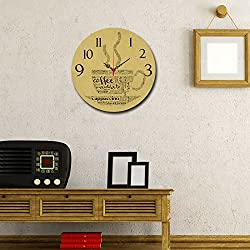 LaModaHome Home Decorative 100% MDF Wall REAL RUNNING CLOCK with Art (16 Diameter) Ready to Hang Painting Cafe Coffee Cappuccino Hot Drink Smell Cup MULTI in STORE!