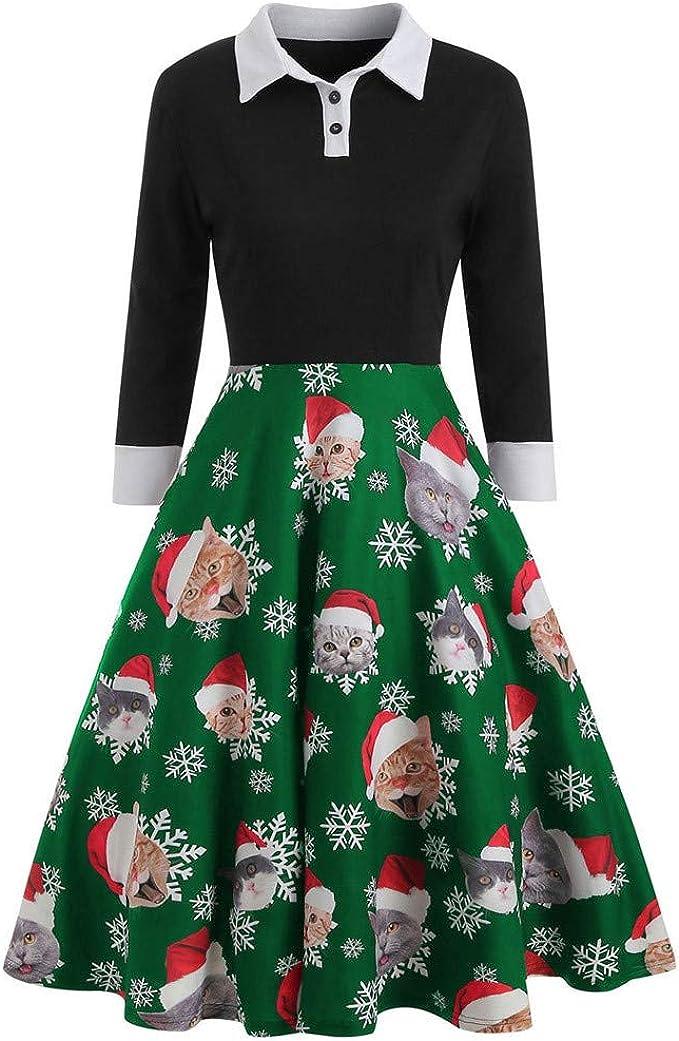 CLOOM Navidad Vestidos Retro Vintage Mujer Sexy Pin Up Vestido ...