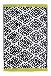Fab Habitat Reversible, Indoor/Outdoor Weather Resistant Floor Mat/Rug - Valencia - Gray (5' x 8')
