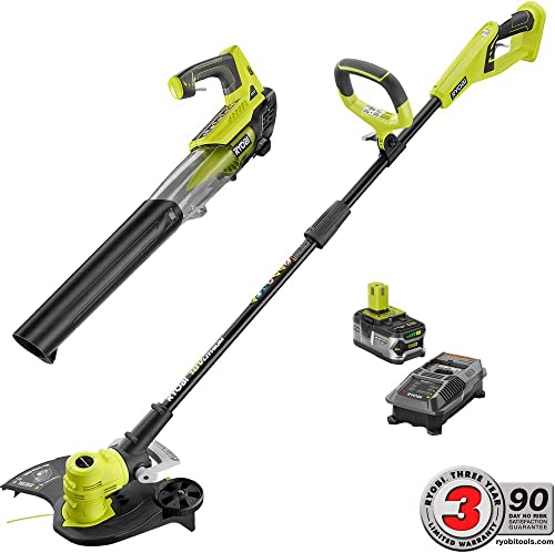 Ryobi ONE 18-Volt Lithium-Ion Cordless String Trimmer Edger and Jet Fan Blower Combo Kit – 4.0 Ah Battery Charger Included Tools Included String Trimmer and Jet Fan Blower