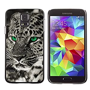 Stuss Case / Funda Carcasa protectora - Eyes Black White Photo Leopard Winter - Samsung Galaxy S5 SM-G900