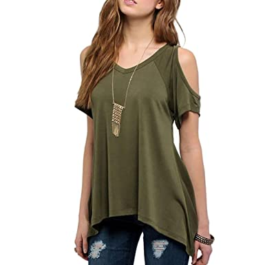 7369f26d0ea Women T-Shirt Tops Sexy Ladies Casual V-Neck Off Shoulder T-Shirt Short  Sleeve Solid Color Stretch Basis T-Shirt Fashion Summer White  Amazon.co.uk   ...