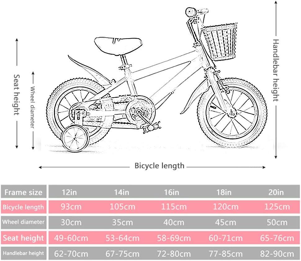 Kids Bikes Chunlan Bicicleta Infantil 12 14 16 Pulgadas Chico Ni/ño Bicicleta para Ni/ños Marco De Acero De Alto Carbono Rueda Silenciosa De Entrenamiento Freno De Seguridad Amarillo Size:12in
