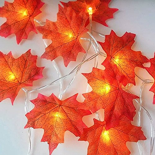 Hotsaleglobal Thanksgiving Decorations Maple Leaf Lighted Fall Garland Battery Operated String Lights 10 LEDs 5.5ft - Harvest 1 Light Pendant