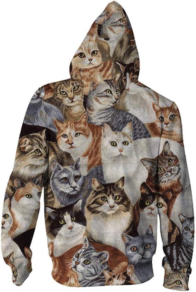 Mens Hooded 3D Digital Print Cat Group Pattern Zip-up Sports Outwear Cardigan Hoodies