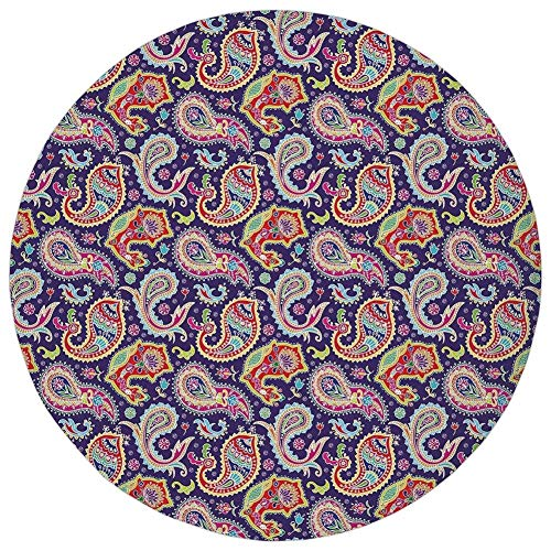 (K0k2t0 Round Rug Mat Carpet,Paisley Decor,60s and 70s Hippie Themed Motives with Geometrical and Floral Design Image,Purple,Flannel Microfiber Non-Slip Soft Absorbent,for Kitchen Floor Bathroom)