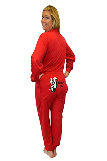 """Red Union Suit Onesie Pajamas with Funny Butt Flap """"Wasn't Me"""" Skunk (XS)"""