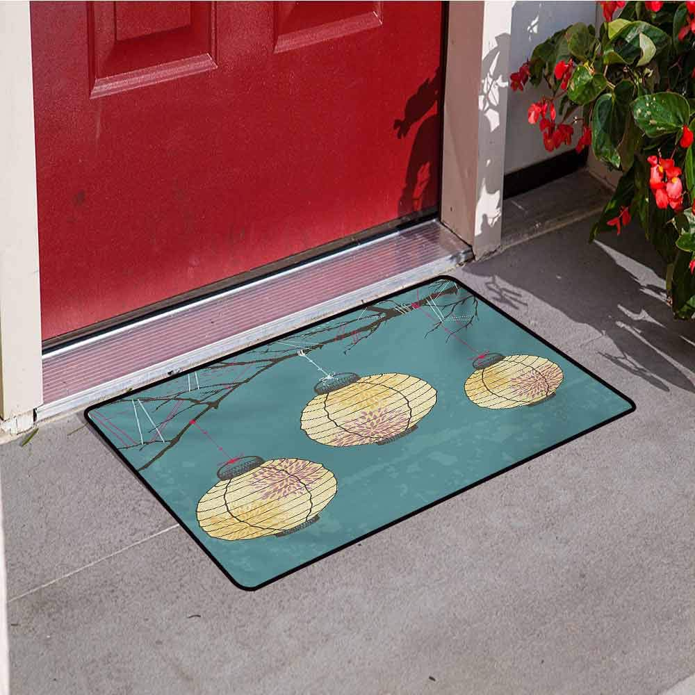Jinguizi Lantern Commercial Grade Entrance mat Three Paper Lanterns Hanging on Branches Lighting Fixture Source Lamp Boho for entrances garages patios W31.5 x L47.2 Inch Teal Pale Yellow