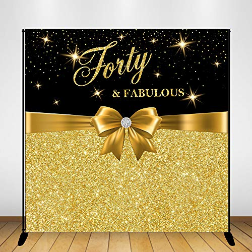 (Mehofoto Forty and Fabulous Birthday Backdrop Happy 40th Birthday Photography Background 8x8ft Vinyl Gold Bow 40th Birthday Party Banner Decoration Supplies)
